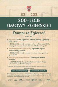 Program obchodów 200. rocznicy podpisania Umowy Zgierskiej – marzec 2021.